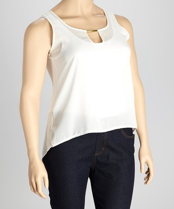 Ivory & Gold Metal Collar Hi-Low Tank - Plus
