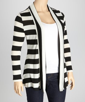 Black & Ivory Stripe Open Cardigan - Plus