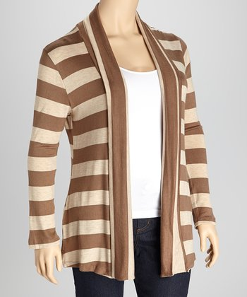 Mocha & Beige Stripe Open Cardigan - Plus