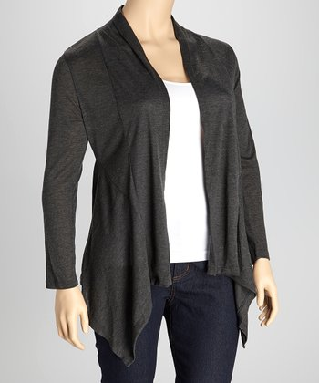 Charcoal Open Cardigan - Plus