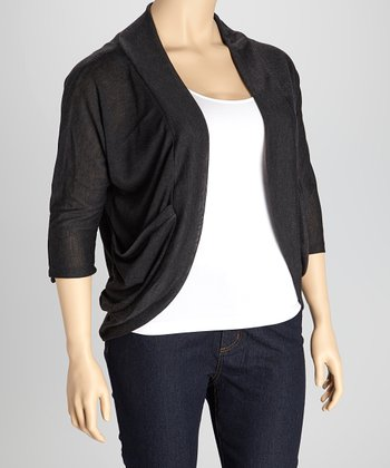 Charcoal Roll-Tab Open Cardigan - Plus
