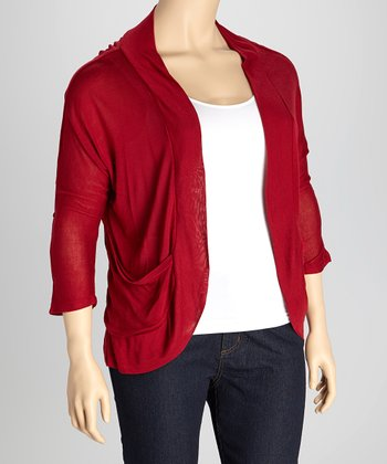 Burgundy Roll-Tab Open Cardigan - Plus