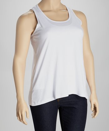 White Racerback Tank - Plus