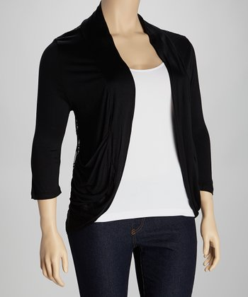 Black Lace Back Open Cardigan - Plus