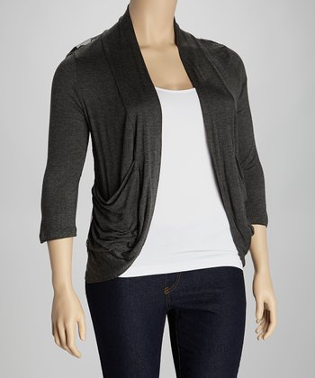 Charcoal Lace Back Open Cardigan - Plus