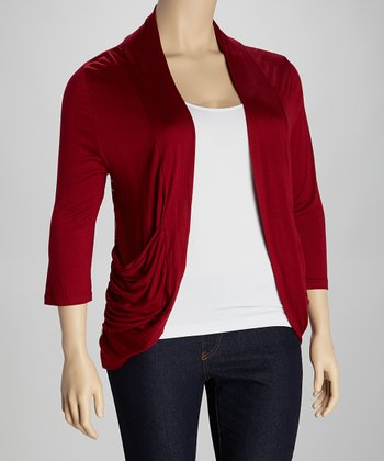 Burgundy Lace Back Open Cardigan - Plus