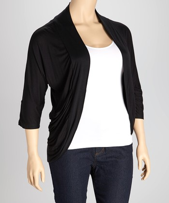 Black Drape Open Cardigan - Plus