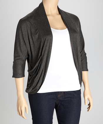 Charcoal Drape Open Cardigan - Plus