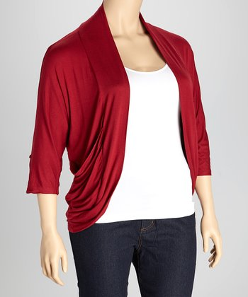 Burgundy Drape Open Cardigan - Plus
