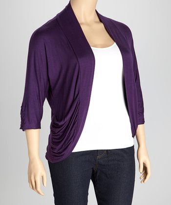 Plum Drape Open Cardigan - Plus