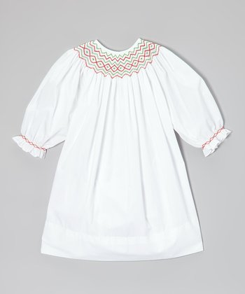 White & Red Geometric Bishop Dress - Infant, Toddler & Girls