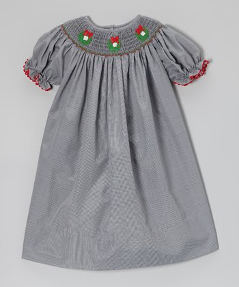 Black Gingham Wreath Bishop Dress - Infant, Toddler & Girls