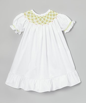 White & Green Flower Geometric Bishop Dress - Infant