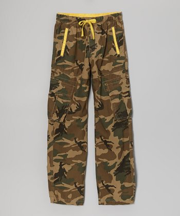 Tan Camo Cargo Pants - Boys