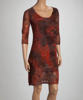 Orange Knit Three-Quarter Sleeve Dress