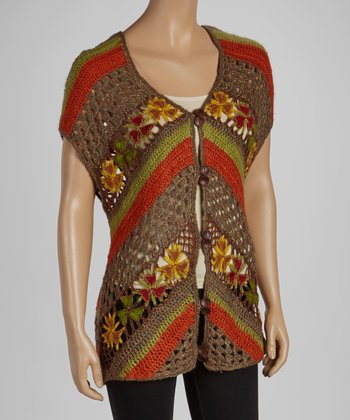 Green & Orange Flower Knit Vest