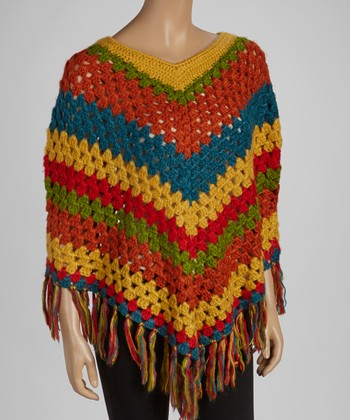 Orange & Blue Knit Poncho