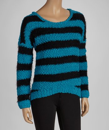 Turquoise & Black Stripe Sweater