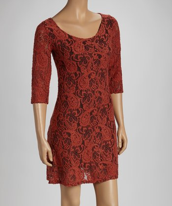 Orange Lace Three-Quarter Sleeve Dress