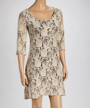 Cream Lace Three-Quarter Sleeve Dress