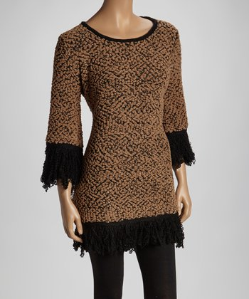 Brown Cape-Sleeve Sweater