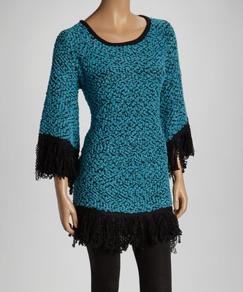 Turquoise Cape-Sleeve Sweater
