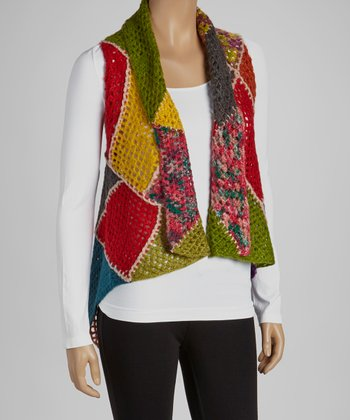 Lime & Yellow Knit Color Block Open Vest