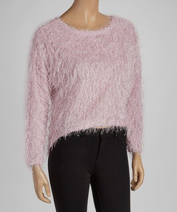 Pink Textured Hi-Low Sweater