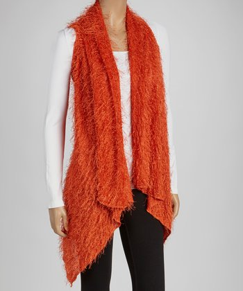 Orange Textured Open Vest