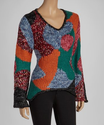 Orange & Red Abstract Sweater
