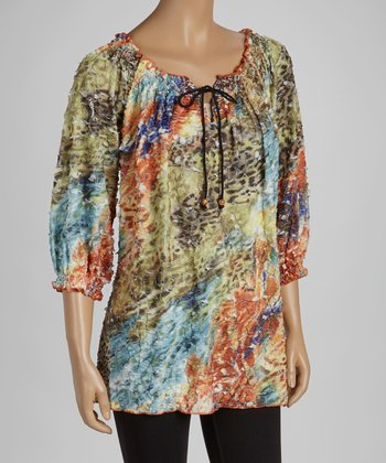 Green & Orange Animal Peasant Top