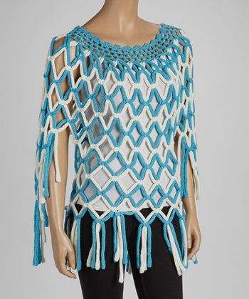 Blue & White Chunky Crocheted Cape-Sleeve Top