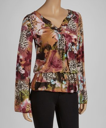 Maroon & Green Floral Leopard Long-Sleeve Top