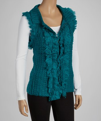 Turquoise Faux Fur Wool-Blend Sweater Vest