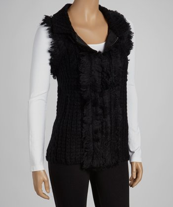 Black Faux Fur Wool-Blend Sweater Vest