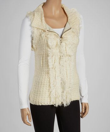 Off-White Faux Fur Wool-Blend Sweater Vest