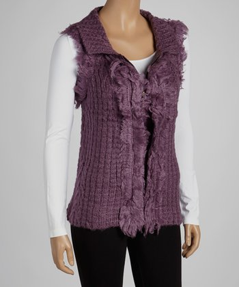 Purple Faux Fur Wool-Blend Sweater Vest