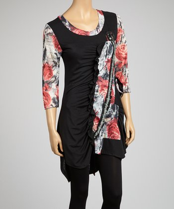 Black Floral Beaded Tunic