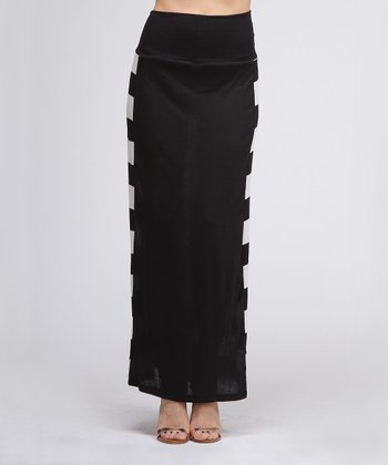 Black Stripe Maxi Skirt