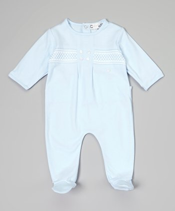 Blue Button Smocked Footie