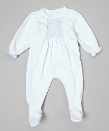 Blue Lattice Smocked Footie