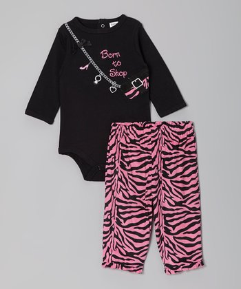 Black & Pink 'Born to Shop' Bodysuit & Pants - Infant