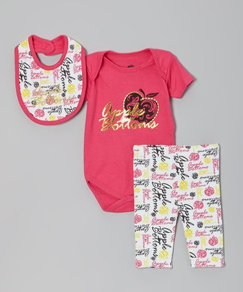 Hot Pink 'Apple' Pants Set - Infant