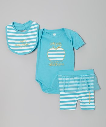 Turquoise Stripe 'Apple Bottoms' Bodysuit Set - Infant
