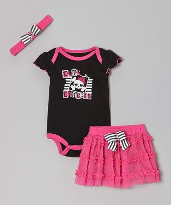 Black & Pink 'Punk Princess' Bodysuit Set