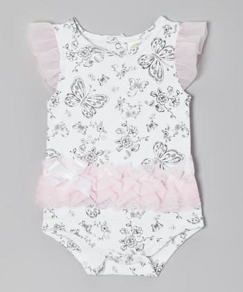 White & Pink Butterfly Angel-Sleeve Bodysuit - Infant
