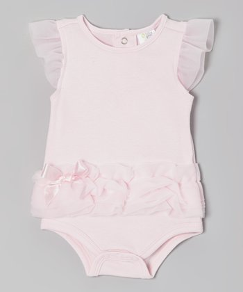 Pink Ruffle Angel-Sleeve Bodysuit - Infant