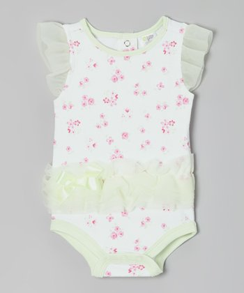 Mint & Pink Floral Angel-Sleeve Bodysuit