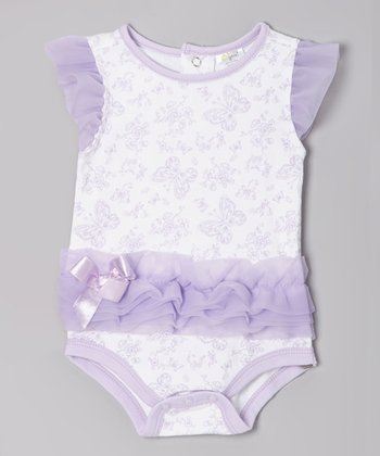 Lavender Butterfly Angel-Sleeve Bodysuit