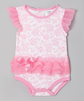 Pink Floral Angel-Sleeve Bodysuit - Infant